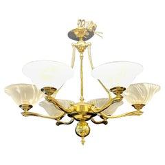 Hollywood Regency Six Light Chandelier Brass and Alabaster