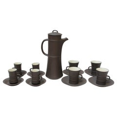 Early Jens Quistgaard for Dansk Flamestone Coffee Pot with Mugs and Demitasses