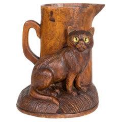 Black Forest Carved Cat Match Holder
