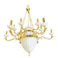 Hollywood Regency Style Alabaster Chandelier Having 12 Lights