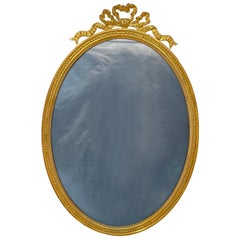 Antique French Louis XVI Style Gold Bronze Oval Picture Frame, Circa 1890