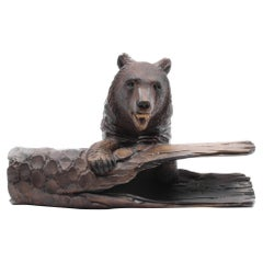 Black Forest Carved Bear with Pen Inkwell