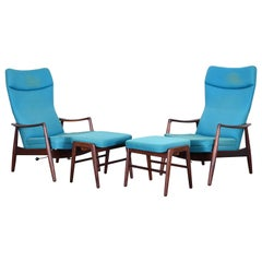 Pair of Madsen & Schubell Lounge Chairs and Ottomans by TOVE, 1960s
