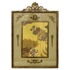 Antique French Louis XVI Gold Bronze Desktop Picture Frame, Circa 1890s-1910