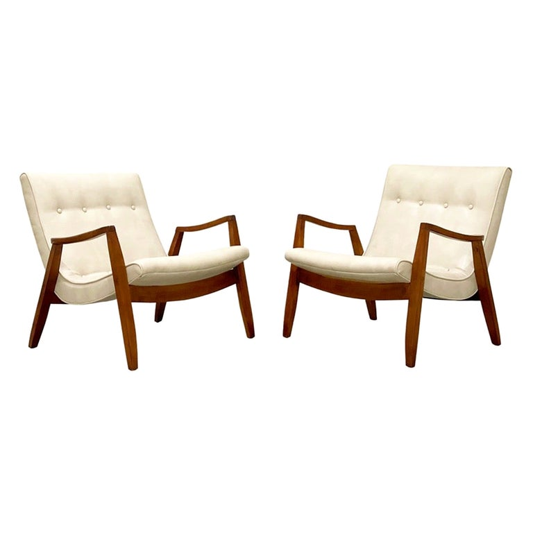 Midcentury Pair Milo Baughman Scoop Lounge Chairs for James Inc, Circa 1953 For Sale