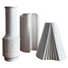 Trio of White Vases by Thomas, Dansk and Rosenthal