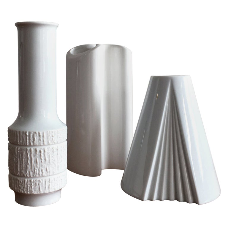 Trio of White Vases by Thomas, Dansk and Rosenthal Plissee  For Sale