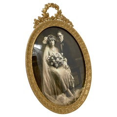 """Antique Gold Bronze Oval Frame Retailed at """"Lord & Taylor"""" New York, Circa 1900"""