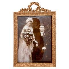 Antique French Gold Bronze Rectangular Desktop Picture Frame, Circa 1890