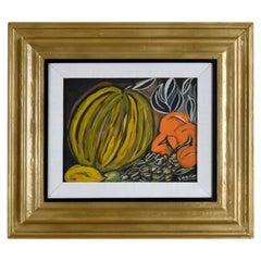 Louis Albert Gayrin Still Life Painting in Black Yellow Green Orange Gouace