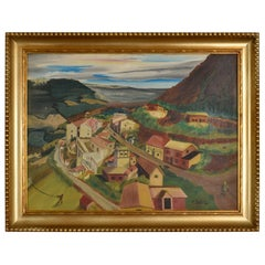 1949 Village in The Valley Folk Art Landscape Painting by M. Thompson