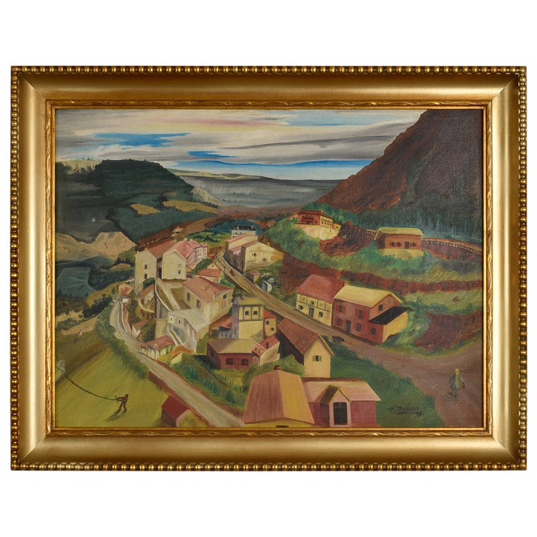 1949 Village in The Valley Folk Art Landscape Painting by M. Thompson For Sale