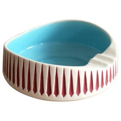 Hornsea Pottery Midcentury Ashtray Catchall in White and Aqua by John Clappison