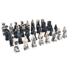 Black and White Marbled Stone Resin Carved Chinese Chess Set