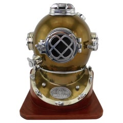Vintage Deep Sea Divers Diving Helmet Copper Steel Mounted on Wood Base