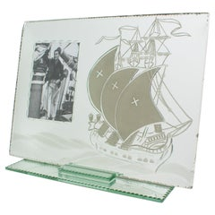 1940s French Mirror Picture Frame Sailing Boat Etching
