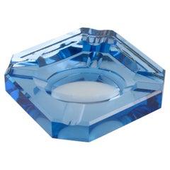 Jean Luce French Art Deco Blue Mirror Glass Ashtray Desk Tidy