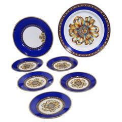 """""""Hermes Porcelain Part of Dessert Set  """"Cocarde De Soie"""""""