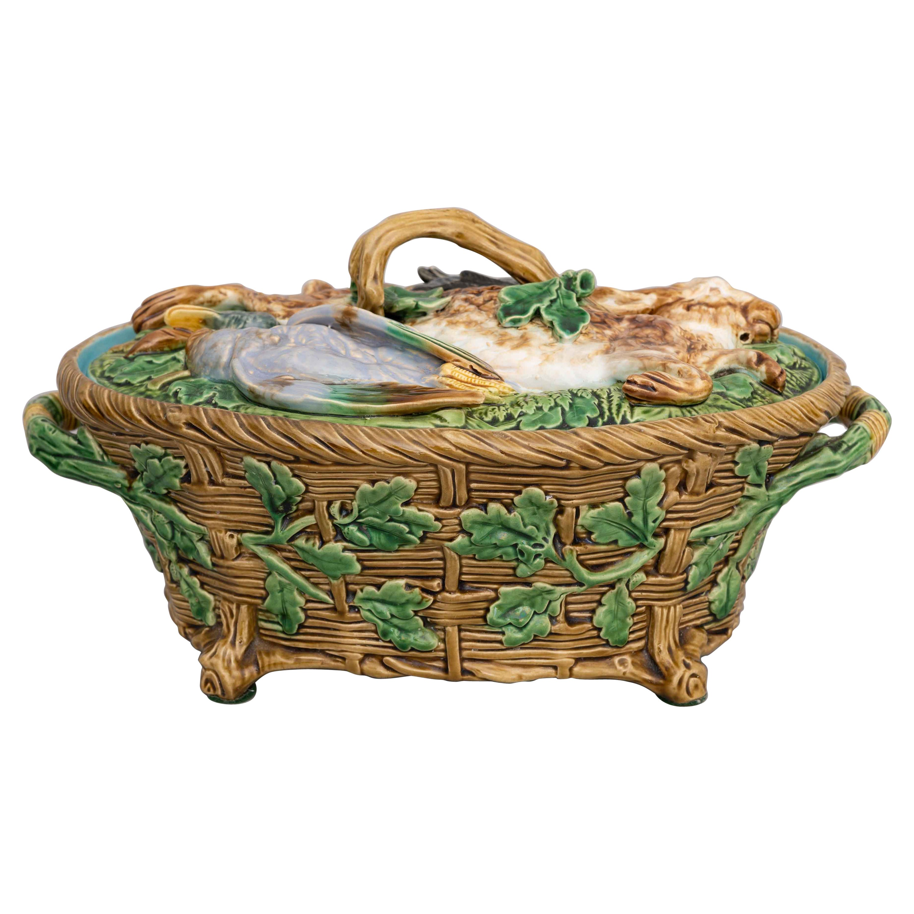 English Victorian Majolica Game Pie Dish Made by Minton & Co.