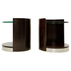 Pair of End-Tables in Wood and Glass, Italy, 1970s