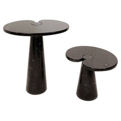 Set of 2 Black Marble Console Tables Model ''Eros'' by Angelo Mangiarotti