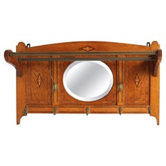 Antique French Art Deco 1920 Coat Rack Beveled Mirror Inlaid Mother of Pearl Oak