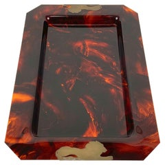 Brass & Tortoise Shell Effect Lucite Centerpiece Serving Tray, Italy, 1970s