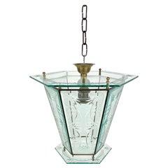 1950s Brass & Glass Chandelier Lantern Attributed to Pietro Chiesa Fontana Arte