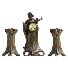 Art Nouveau Clock Set by Francesco Flora 1890 Antique Three Piece French Mantel