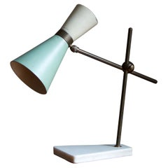 Italian, Adjustable Table Lamp, Brass, Lacquered Metal, & Marble, Italy, 1950s