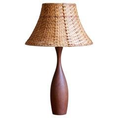 Swedish, Organic Table Lamp, Teak, Rattan, Sweden, 1960s