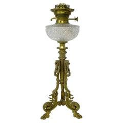 Antique French Empire Style Ormolu Gilt Bronze Fluid Oil Lamp Centerpiece 19thCt