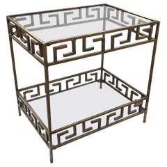 Vintage Bronze 2-Tiered Table with Greek Key Open Fretwork