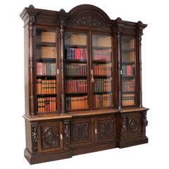 Victorian Carved Oak Elizabethan Revival Breakfront Bookcase by Wylie & Lochhead