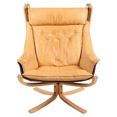 Midcentury Falcon Chair in Patinated Leather by Sigurd Resell