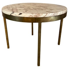 Mid-Century Modern Round Marble and Bronze Side Table