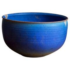 Helle Allpass, Bowl, Blue-Glazed Stoneware, Artists Studio Denmark, 1960s