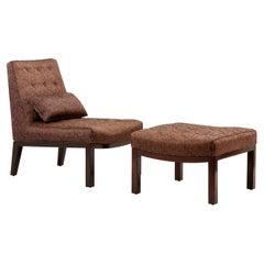 Edward Wormley Lounge Chair with Ottoman by Dunbar, USA 1960s