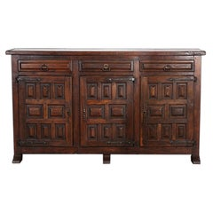 Spanish Solid Paneled Oak Buffet with Plank Top