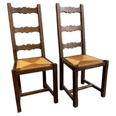 1940's French Oak and Rattan Dining Chairs