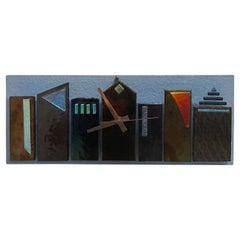 Postmodern / Memphis Era Art Glass Wall Clock by M.J. Bailey