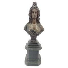 "Late Victorian ""1870"" Semi-Nude Bronze Female Bust"