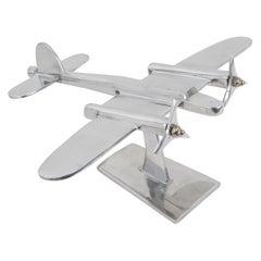 French Aviation Polished Aluminum Airplane Model