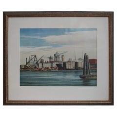 """Shipyards, San Francisco"" Painting, circa 1950s"