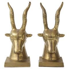 Mid Century Bronze Goat Bookends
