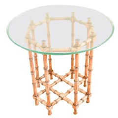 Faux Bamboo Glass Top Side Table