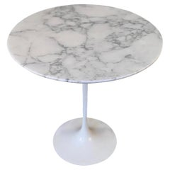 Mid-Century Modern Tulip Side Table with Marble Top