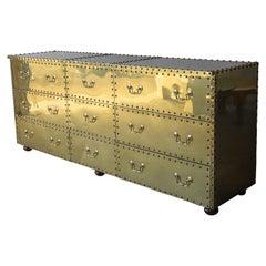 Vintage Brass Clad Nine-Drawer Dresser by Sarreid