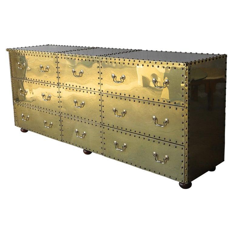 Vintage Brass Clad Nine-Drawer Dresser by Sarreid For Sale