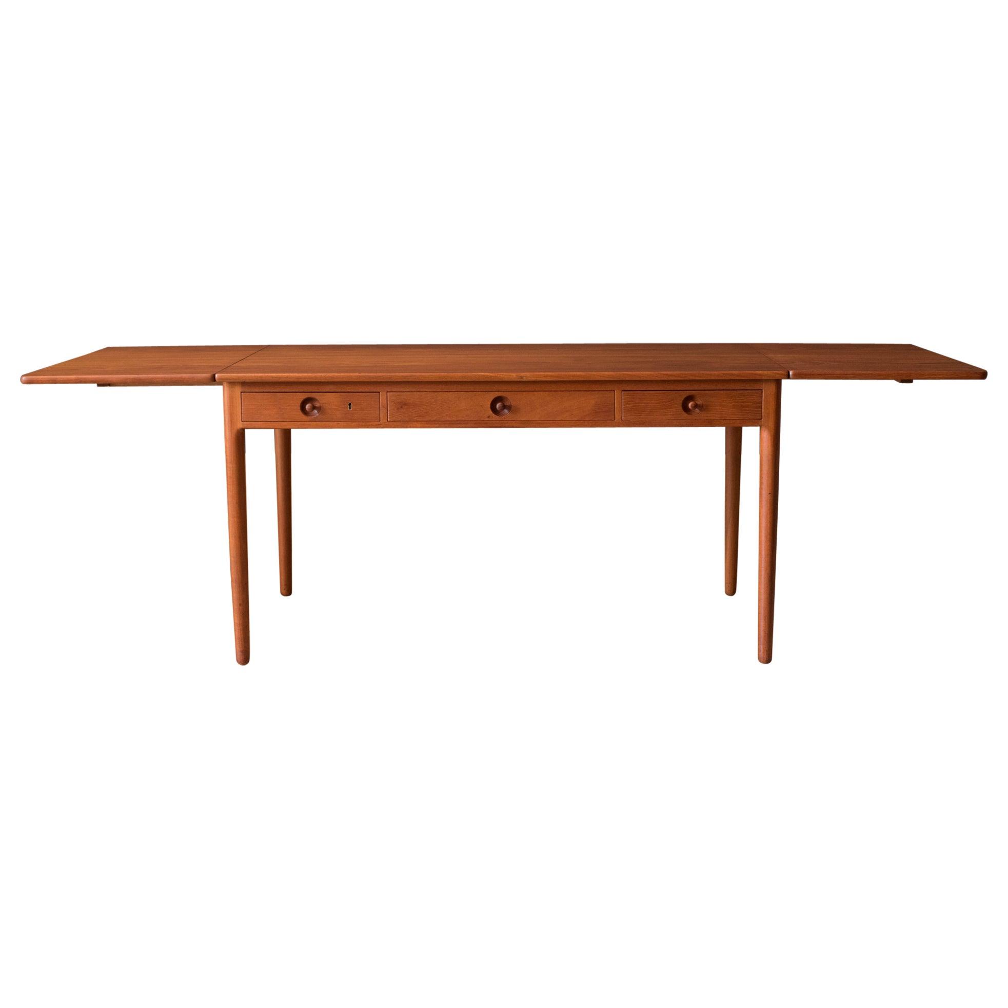 Danish Modern Teak AT-305 Hans J. Wegner Drop Leaf Writing Desk for Andreas Tuck